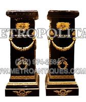Pair Empire Wood and Dore Bronze Pedestals Rouge Marble Top.